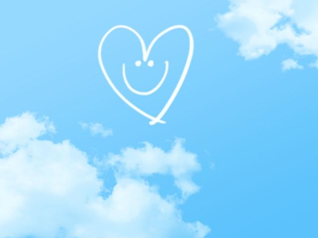 空にハートマーク