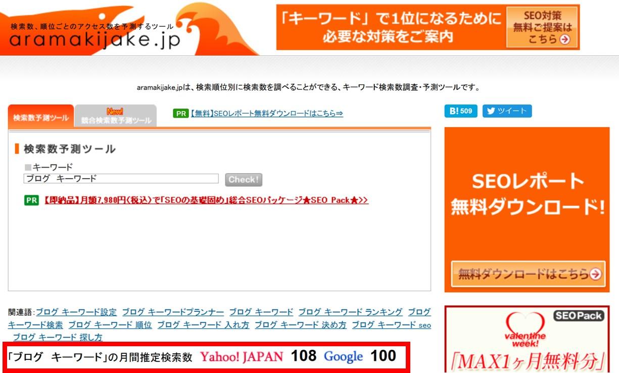 aramakijakeで調べた月間推定検索数