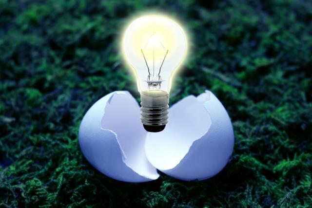 卵から電球。アイデアが生まれる瞬間