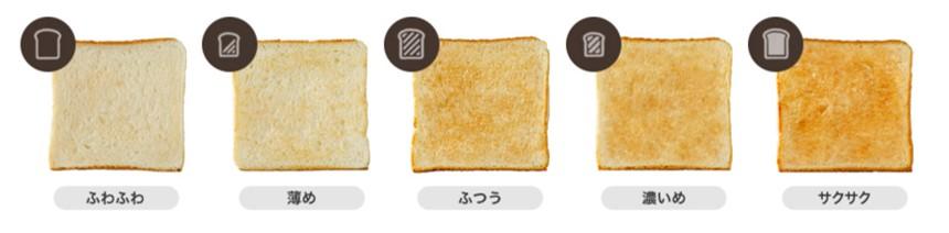 三菱ブレッドオーブンの焼き加減選択