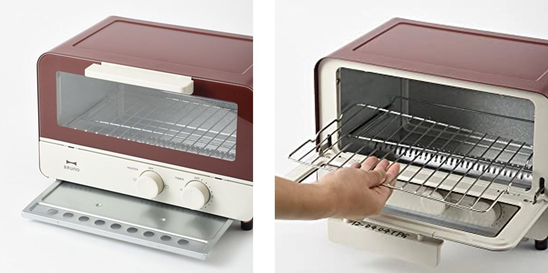 ブルーノオーブントースターの焼き網とパンくずトレイは取り外し可能